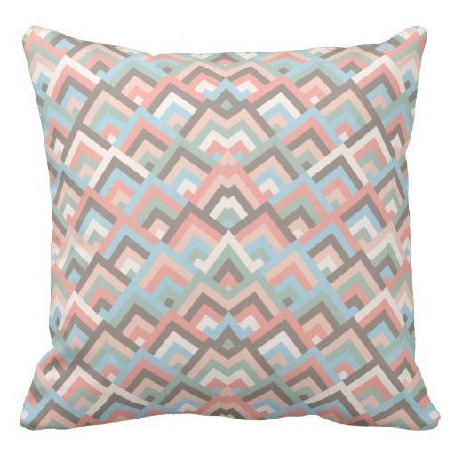 Girly Earth Zigzag Symmetric Peeks Pattern Throw Pillows