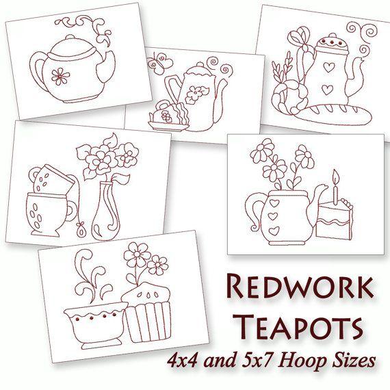 Kitchen Teapots Redwork Machine Embroidery Patterns