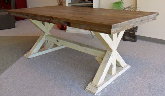 Table Dining Table Reclaimed Wood Trestle by VintageMillWerks