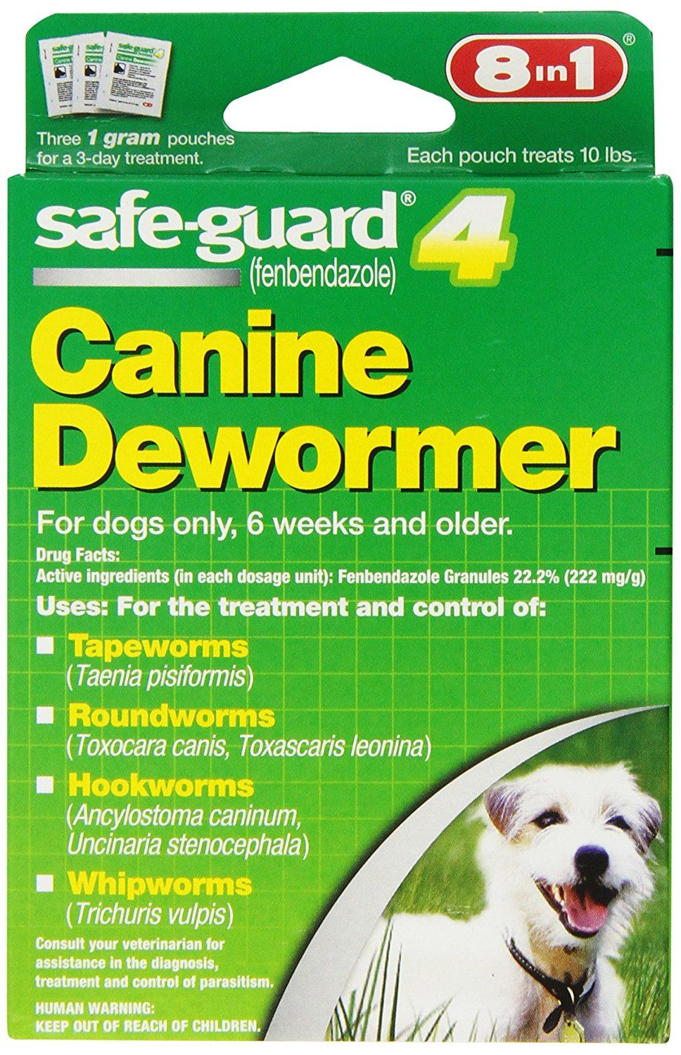 Amazon Com 8 In 1 Safe Guard Canine Dewormer For S Dogs 1 Gram Pet Wormers Pet Supplies Dogs Small Dogs Canine