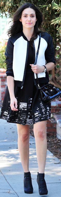 Who made Emmy Rossum's black print dress