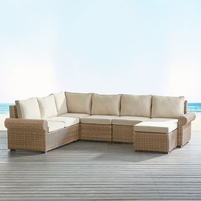 Pier 1 Imports Echo Beach Sand Roll Arm 5-Piece Sectional | Rust and ...