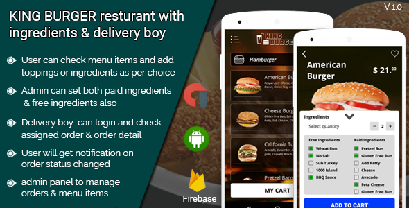 KING BURGER restaurant with Ingredients & delivery boy full android