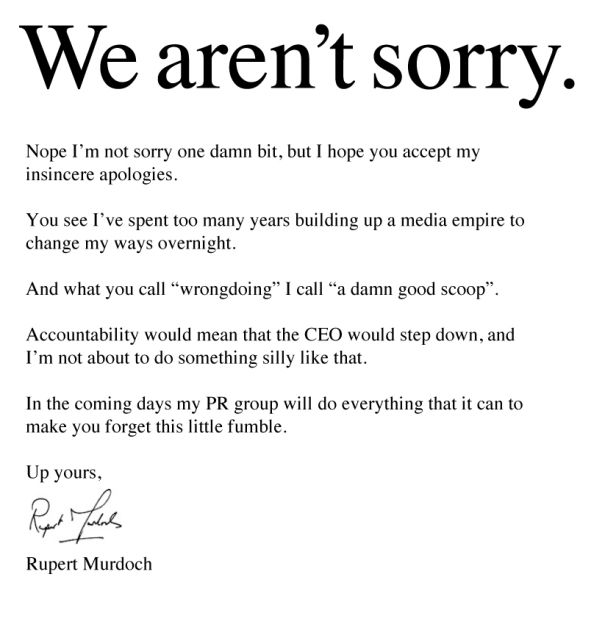 murdoch-no-apology-letterjpg (600×627) Flyers Pinterest - how to make an apology letter