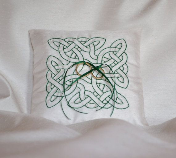 How gorgeous would this cushion look with your Celtic Tui wedding rings!  Celtic Wedding Ring Pillow by RomanceRingPillows on Etsy, $42.26