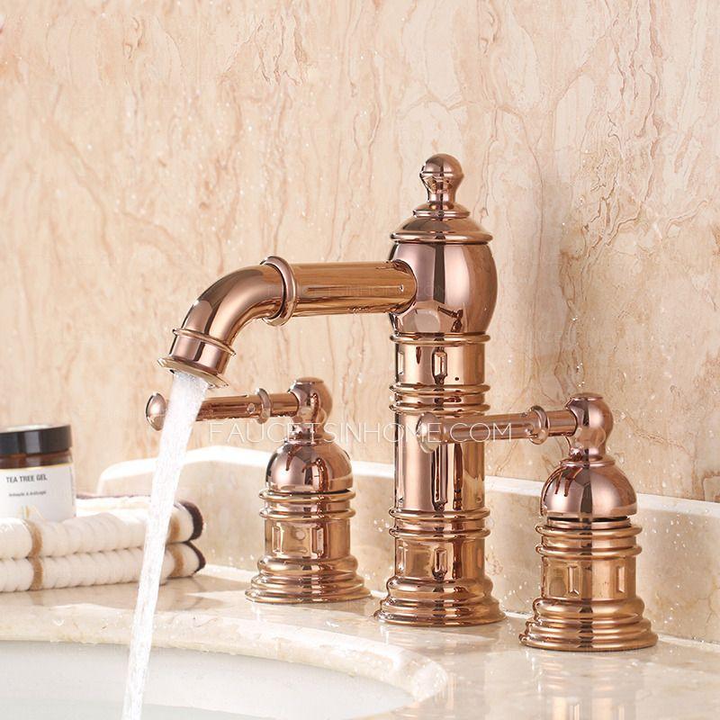 High End Rose Gold Three Hole Bathroom Sink Faucet