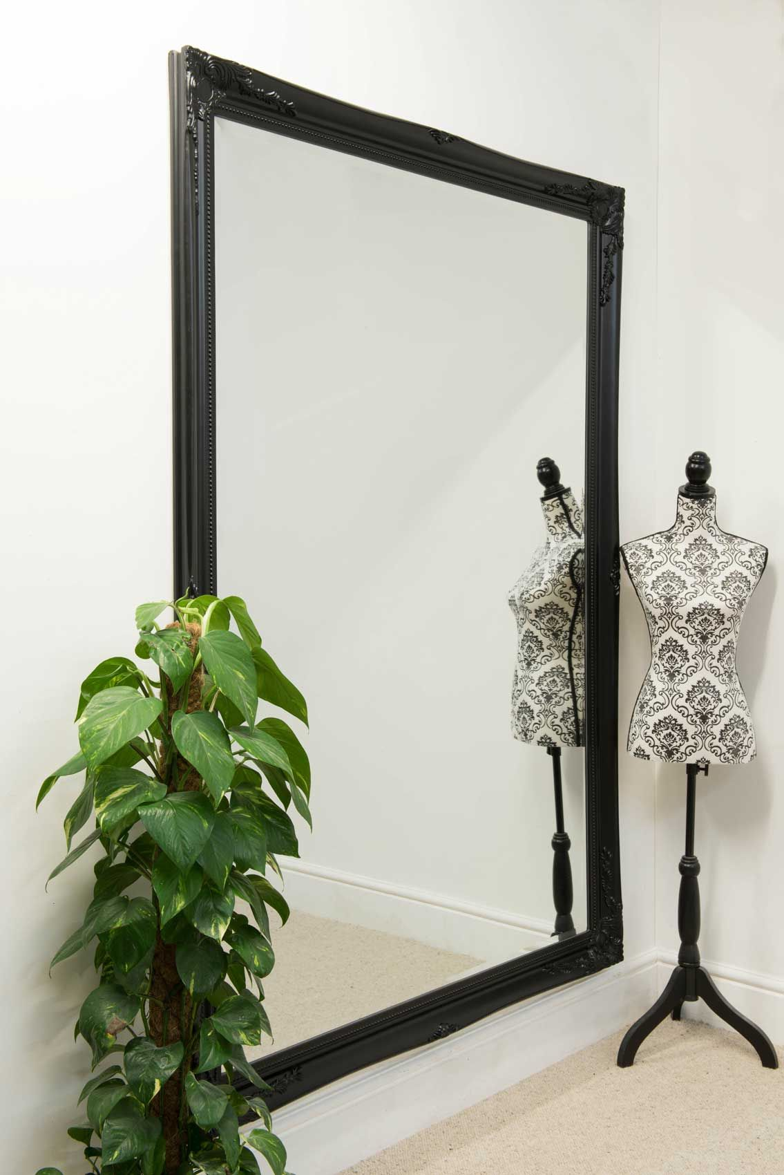 Buckland Black Framed Mirror 200X140Cm  Soraya Interiors Uk
