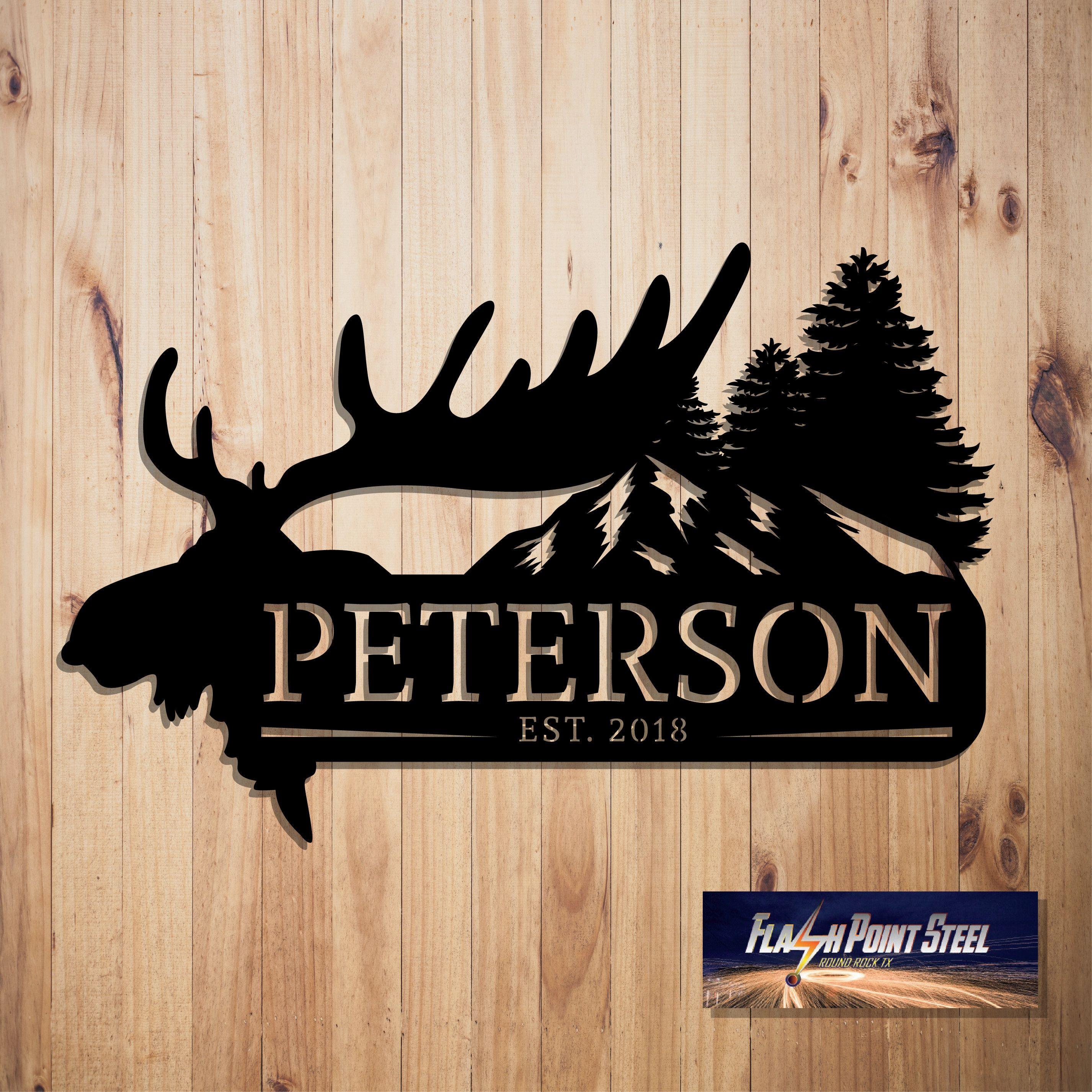 Custom metal sign, Elk antlers, Steel Art, Antler established, Elk sign, Family name sign, Est, ranch sign, home decor, indoor, outdoor sign