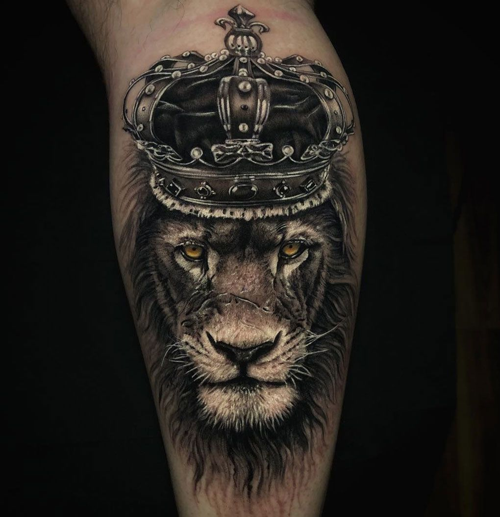 Lion King Wearing A Crown Best Tattoo Design Ideas King Tattoos Lion King Tattoo Lion Leg Tattoo