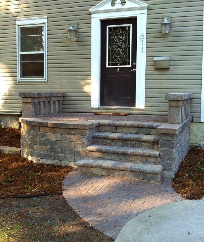 Doty Island Front Steps Porch Steps Front Porch Stone Front | Stone Front Porch Steps Designs | House | Stained Concrete | Round | Stone Walkway | Flagstone