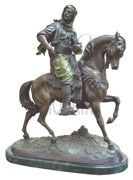 Arabian Hunter Patina Bronze Sculpture Circa 1900 Depicts An Arab Fighter On Horseback It Is Signed Moroccan Antique Bronze Horses