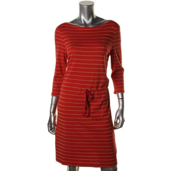 CHARTER CLUB  Orange Modal Blend Casual Dress Charter Club Size: PS Size Origin: US Manufacturer Color: Sweet Poppy Combo Retail: $80.00 Condition: New with tags Style Type: Casual Dress Collection: Charter Club Petite Weekend Silhouette: Drop Waist Sleeve Length: 3/4 Sleeve Closure: Pullover Dress Length: Knee-Length Total Length: 36 Inches Bust Across: 17 Inches Waist Across: 16 1/4 Inches Hips Across: Inches Material: Cotton/Modal/Polyester/Metallic Fabric Type: Metallic Specialty…