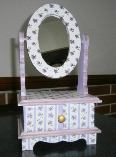 alhajero con espejo madera espejo laminas de papel pegado