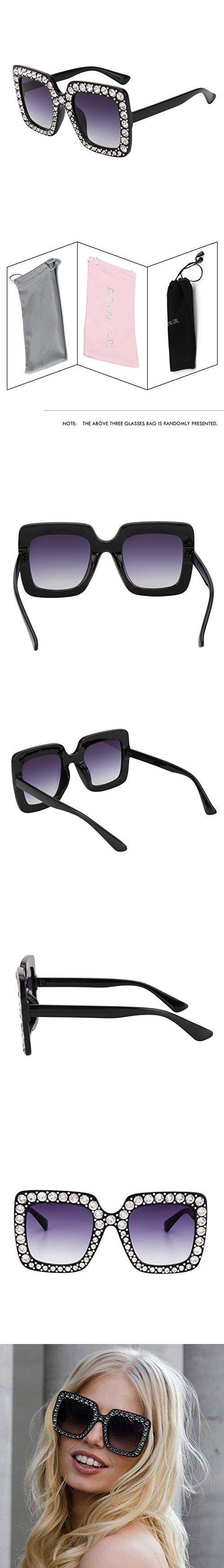 50bf4083c75 ROYAL GIRL Black Sunglasses For Women Oversized Square Luxury Crystal Frame  Brand Designer Fashion Glasses (