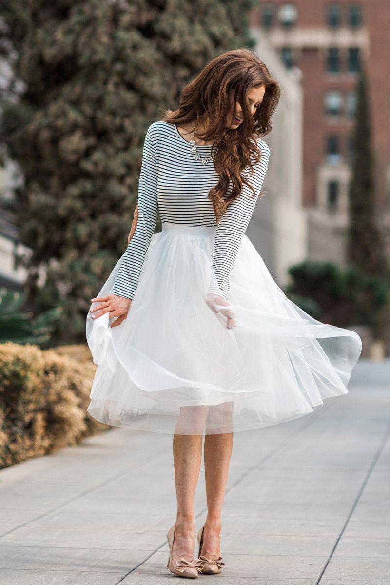 White Tulle Midi Skirt, Tulle Skirts for Women, Midi