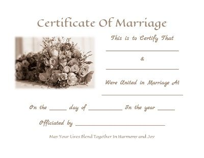 Keepsake Marriage Certificates - Free Graphics And Printables