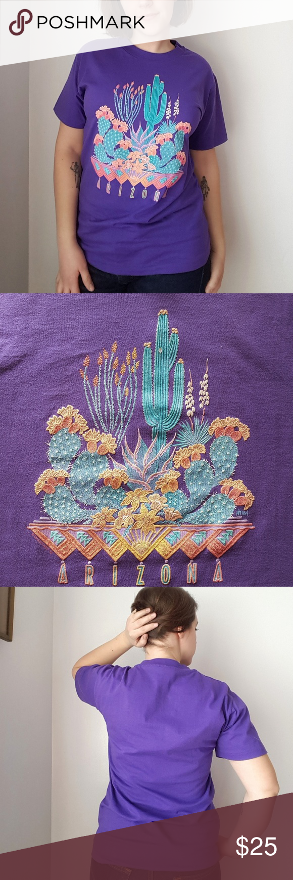 Vintage Purple Arizona Cactus T-Shirt Vintage Purple Arizona Cactus T-Shirt. Featuring a textured graphic of cacti and the word Arizona on a purple Hanes 50/50 t-shirt. 50% cotton, 50% polyester, made in USA. Marked a size M- 19 armpit to armpit, 27 long. In great vintage condition with no noticeable flaws. Vintage Tops Tees - Short Sleeve #arizonacactus Vintage Purple Arizona Cactus T-Shirt Vintage Purple Arizona Cactus T-Shirt. Featuring a textured graphic of cacti and the word Arizona on a #arizonacactus
