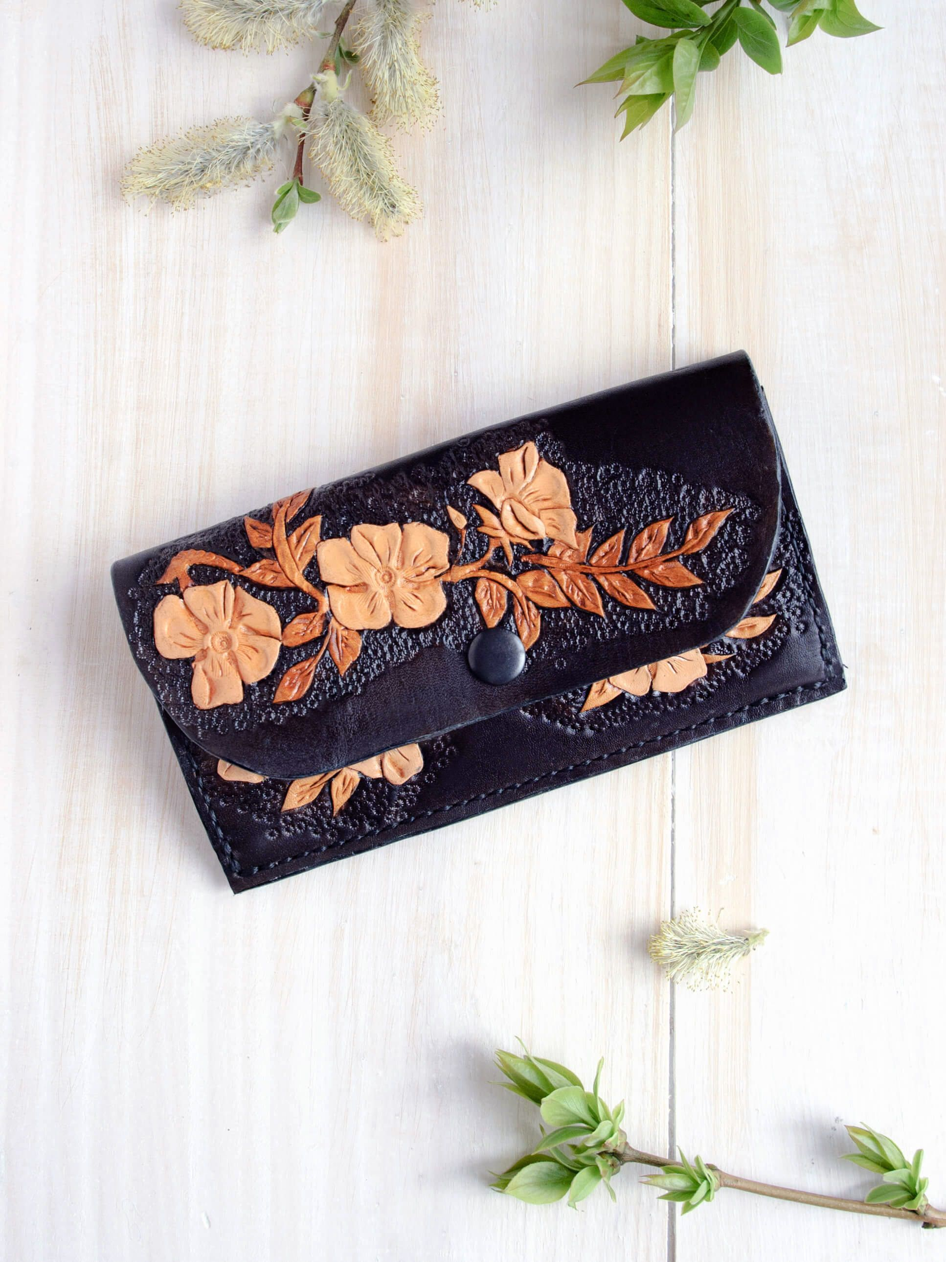 Black leather wallet with flowers gift for mom floral wallet black leather wallet with flowers gift for mom floral wallet black clutch womens wallet leather purse gift for her handmade wallet negle Image collections
