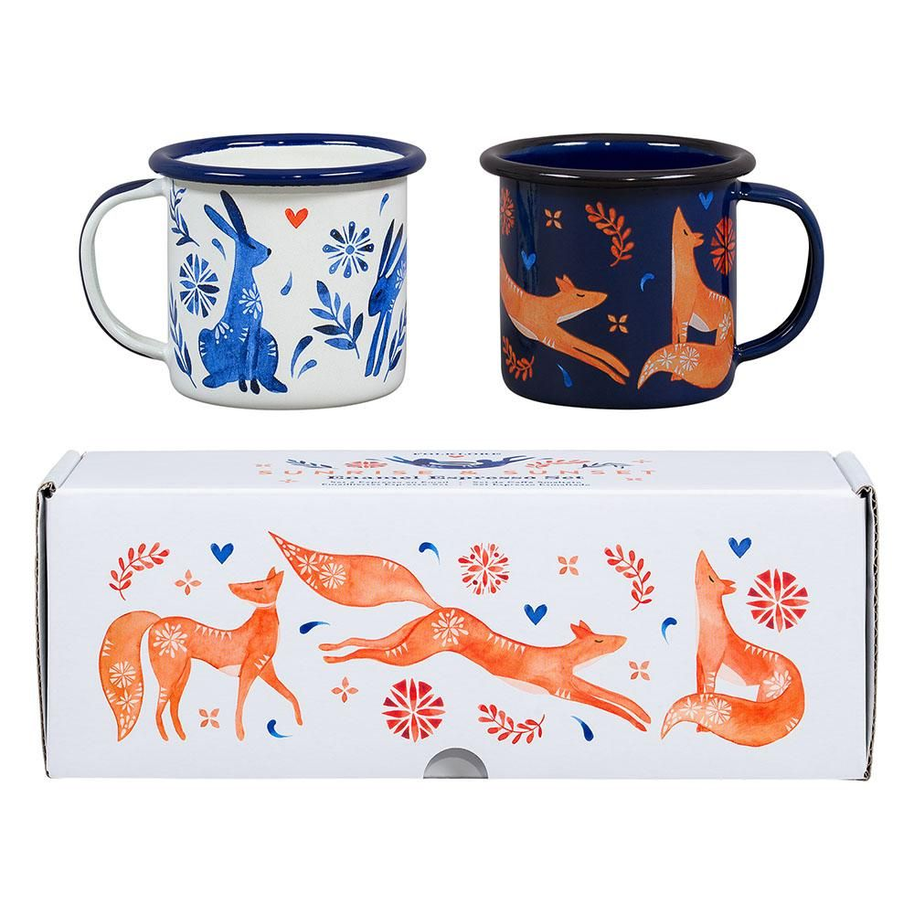 Folklore Espresso Set of 2 Hare and Fox Wild and Wolf
