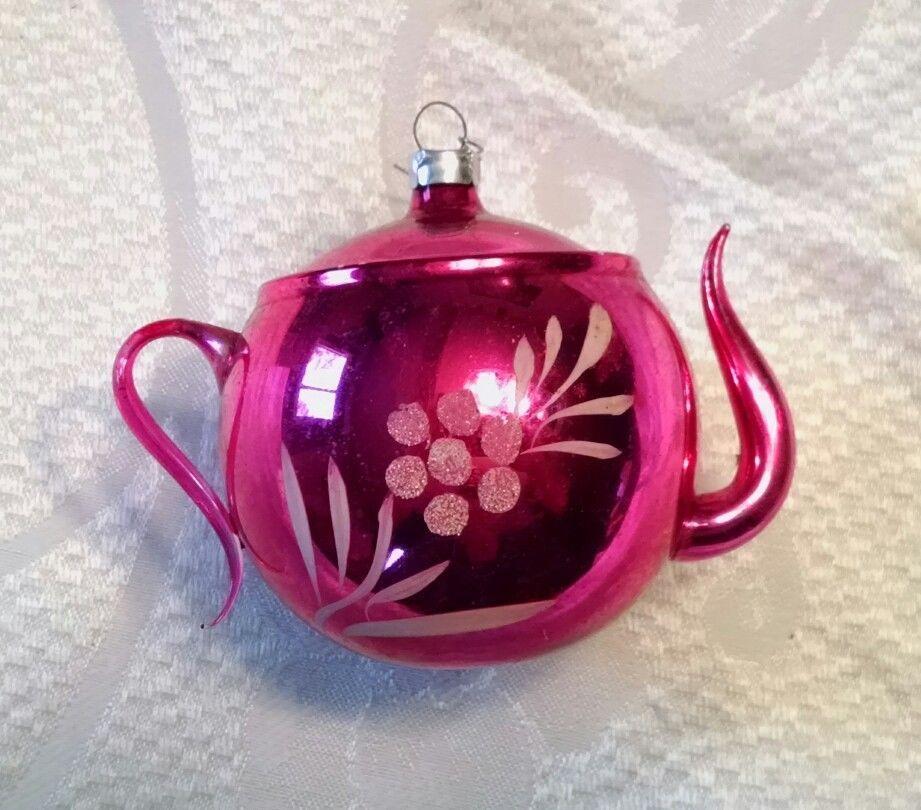Vintage Pink Blown Mercury Glass Tea Pot Ornament Collectibles Holiday Seasonal Christmas Modern 1946 90 Tea Pots Glass Tea Vintage Christmas Ornaments