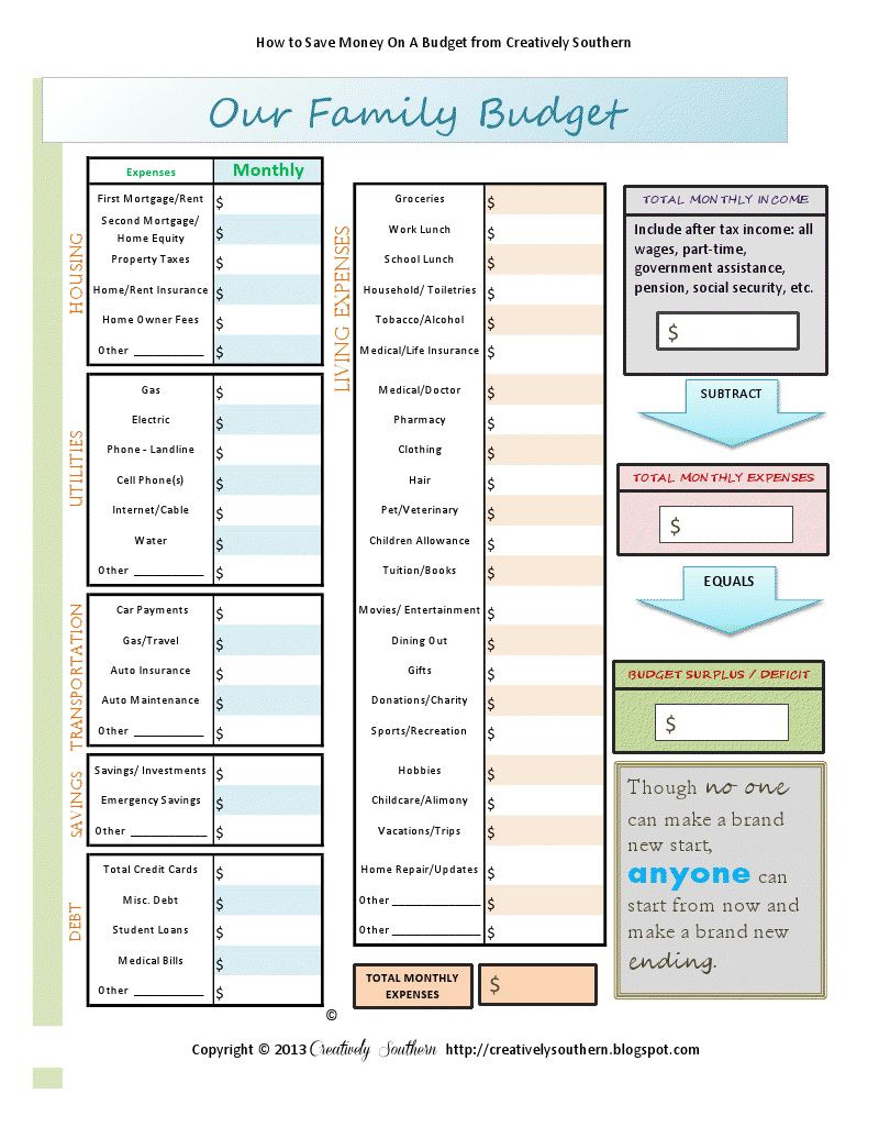 budget worksheet free printable pdf
