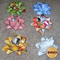 Recycled Magazine Bows better than buying bows at the store. More recycled crafts at freekidscrafts.com
