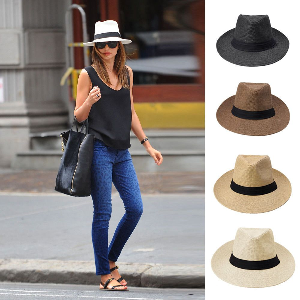 5d0ea0bd71c53c Summer Cool Panama Wide brim Fedora Straw Made Indiana Jones Style Hat 9110  | Clothing, Shoes & Accessories, Women's Accessories, Hats | eBay!