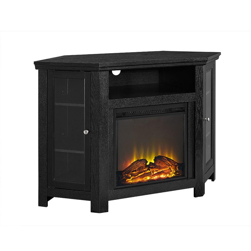 48cornerfireplacetvstand black basement pinterest walker edison 48 corner fireplace tv stand in black teraionfo