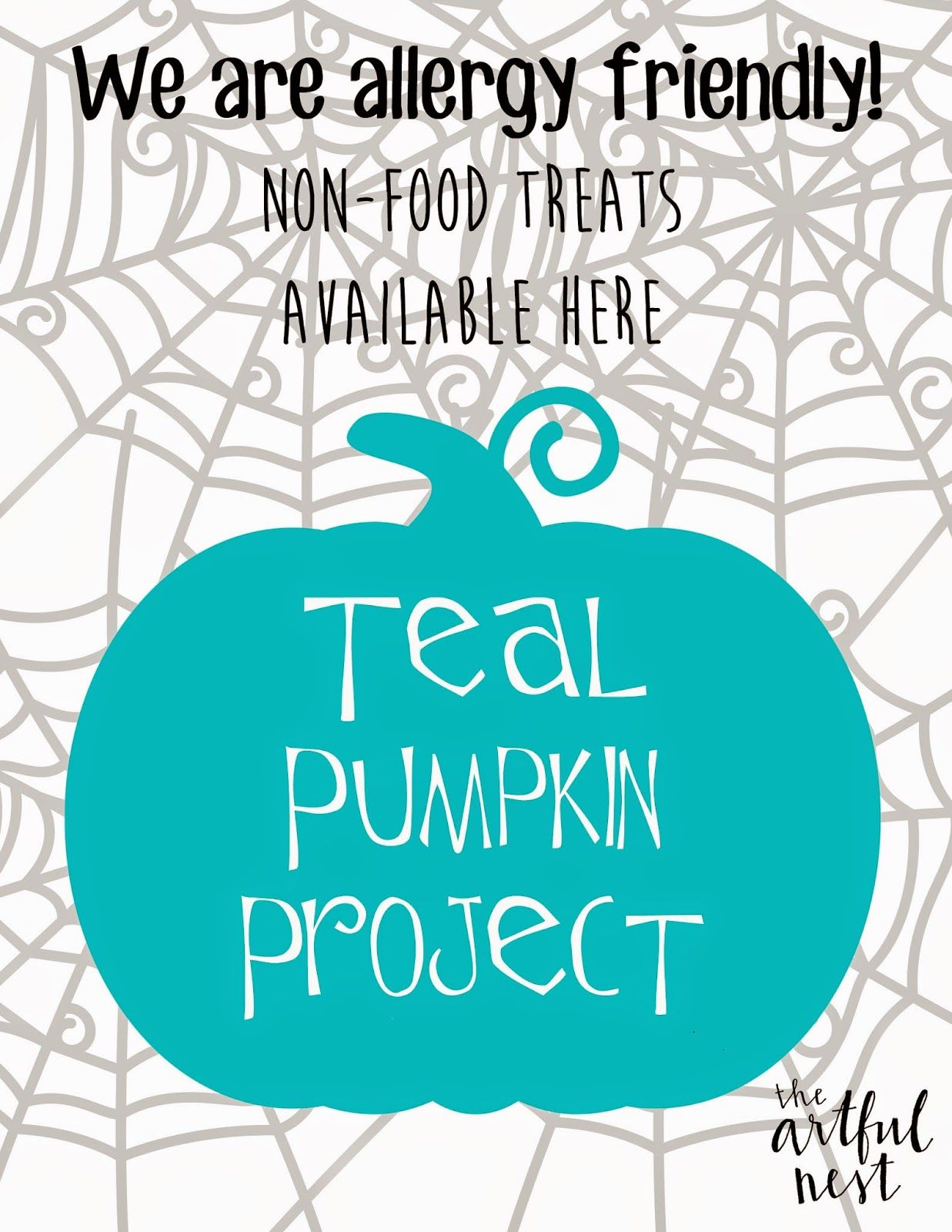 It is a graphic of Lively Teal Pumpkin Printable