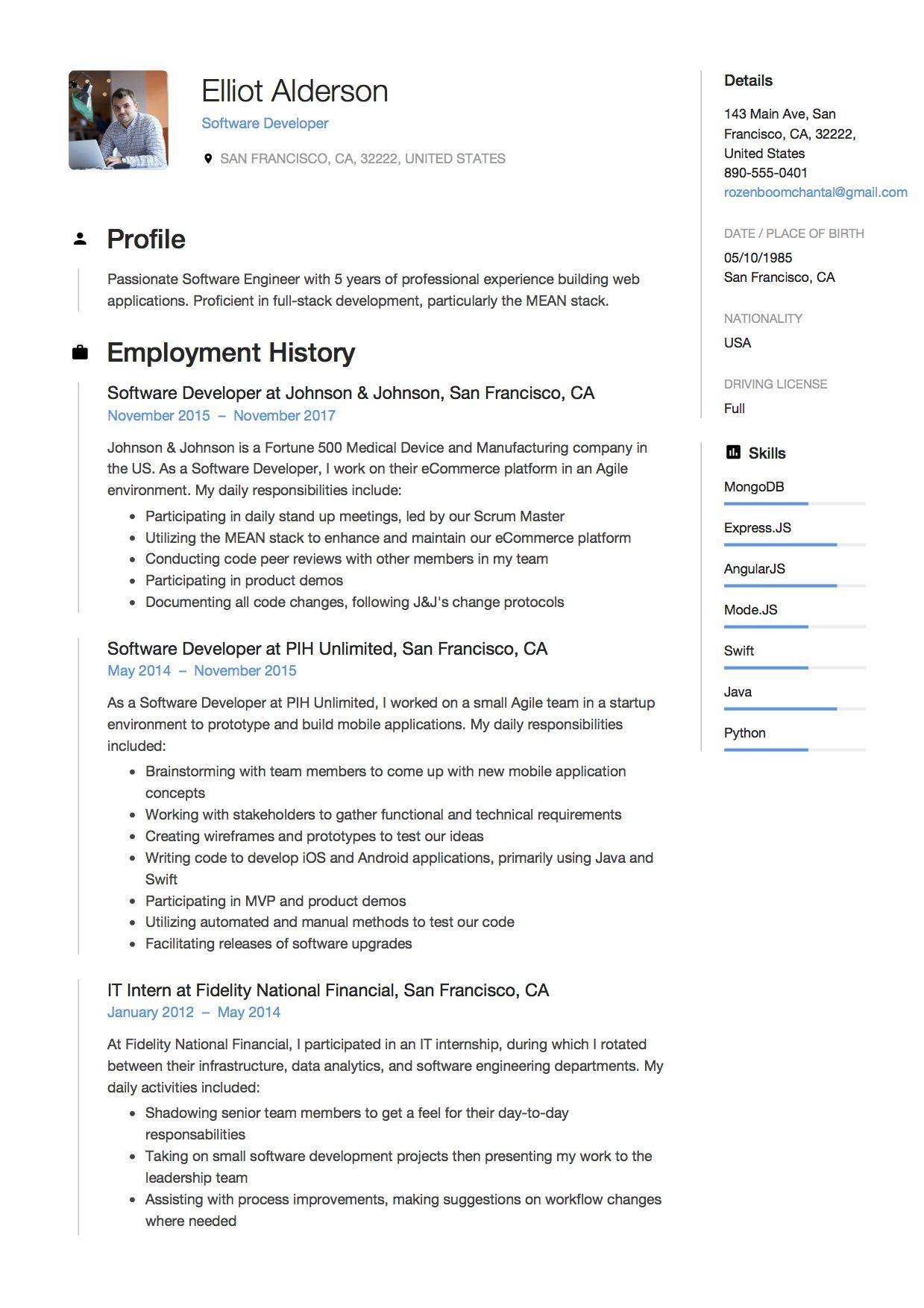 Software Developer Resume Sample, Example, Template