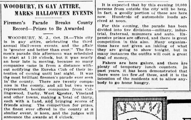 "1916 - Woodbury, NJ Halloween event ""Fireman's parade breaks county record"" www.gloconj.com"