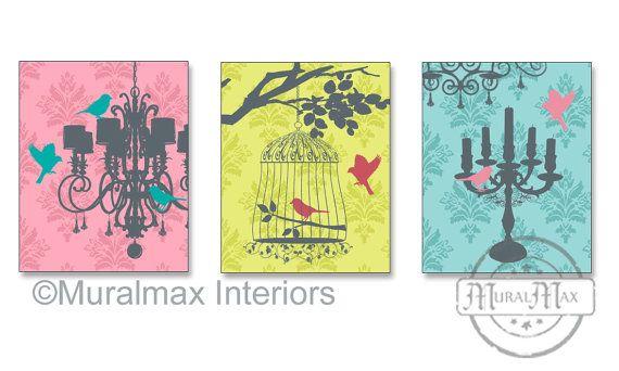 Chandelier Trio Print wall art ,Set of three prints, Girls Room Art ...