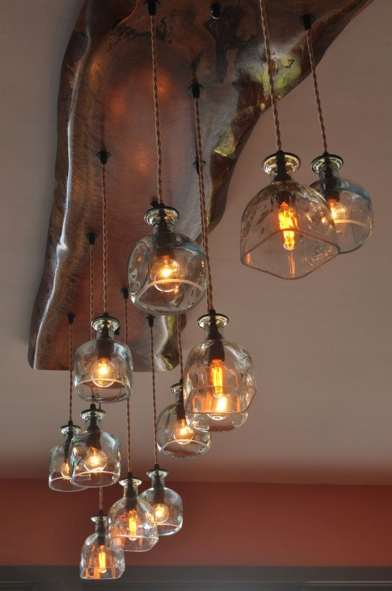 Live edge chandelier by moonshinelamp on etsy projects to try this amazing recycled patron bottle chandelier is made from a live edge piece of eucalyptus from seattle washington bottle chandelier crystal chandeliers aloadofball Choice Image