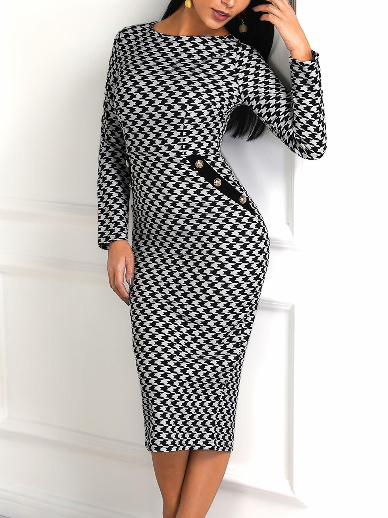 10229130e06 Houndstooth Print Long Sleeve Dress #fashion #beautiful #tops #style ...