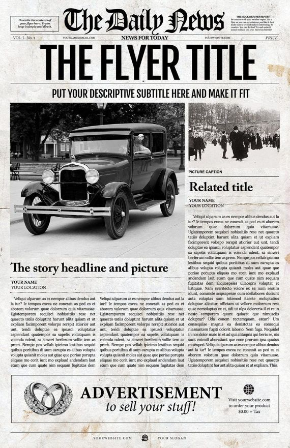1 Page Newspaper Template Adobe Photoshop 11x17 Inch Newspaper