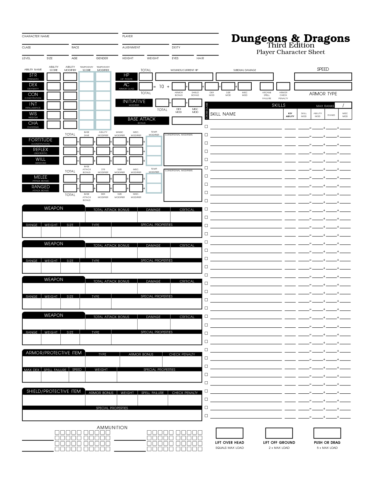 2nd edition character sheet pdf