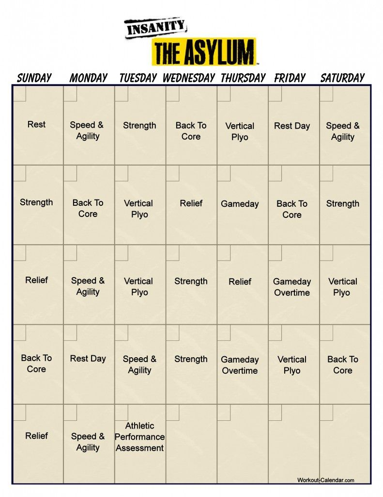 Asylum Workout Calendar Started This Yesterday And IM Going To