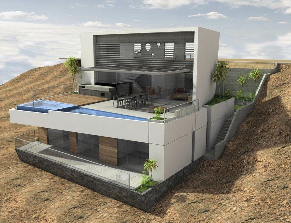 Vertice arquitectos have designed a house situated above for Fachadas de casas modernas en lima