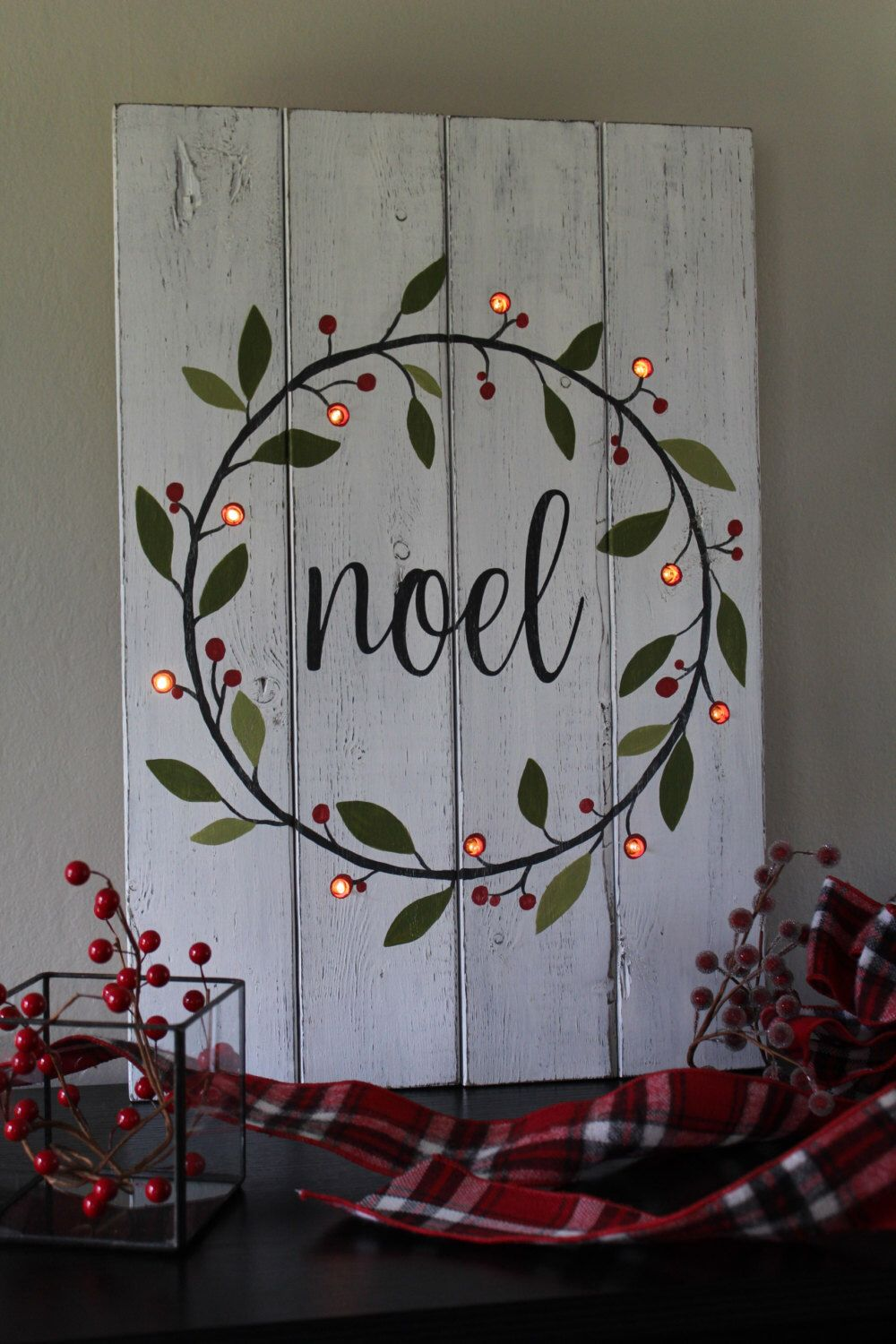 noel sign lighted christmas sign hand painted wood sign lighted christmas wreath rustic home decor mantle