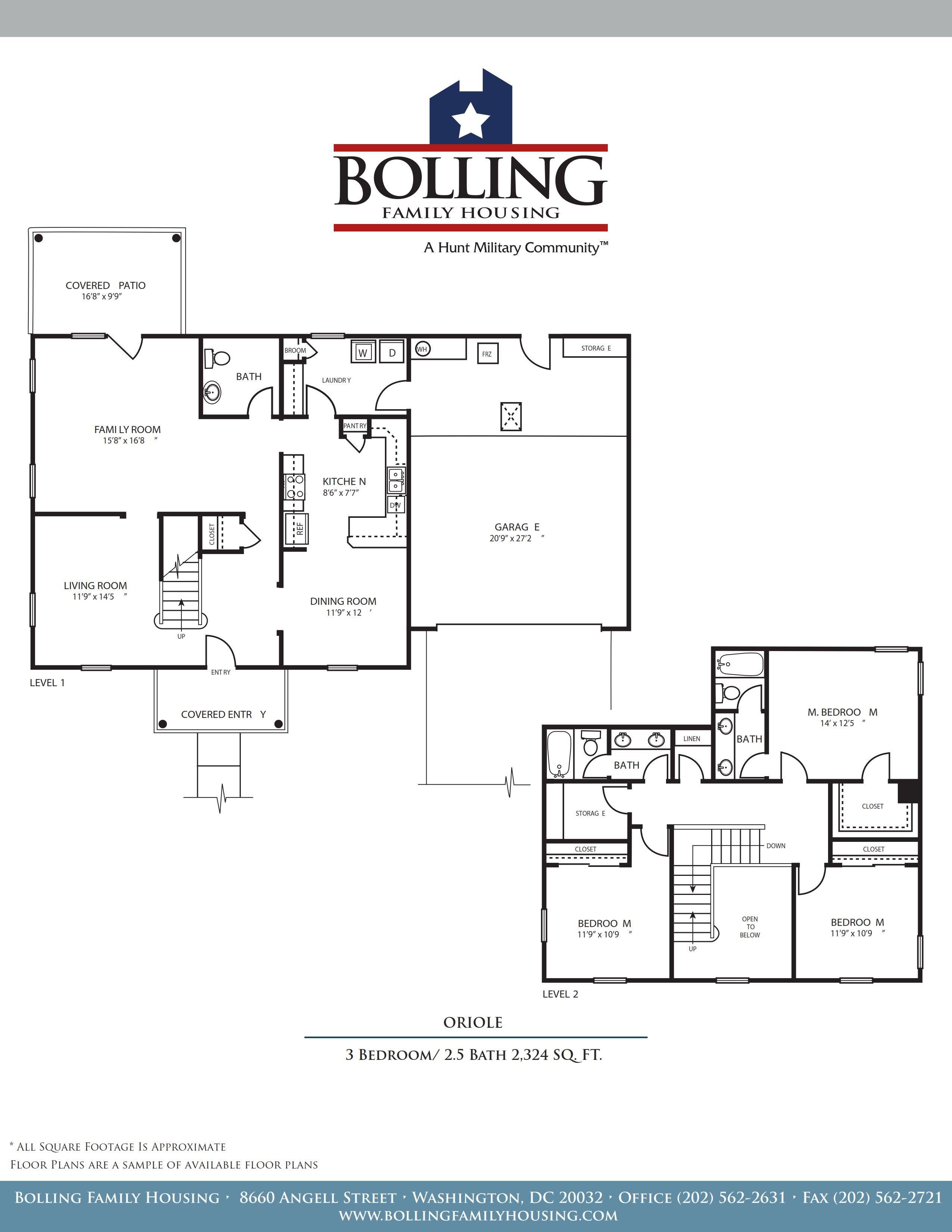 Jb Anacostia Bolling New Hickam Village Oriole Floor Plan 3 Bedroom 2 5 Bathroom 2324 Sq Ft
