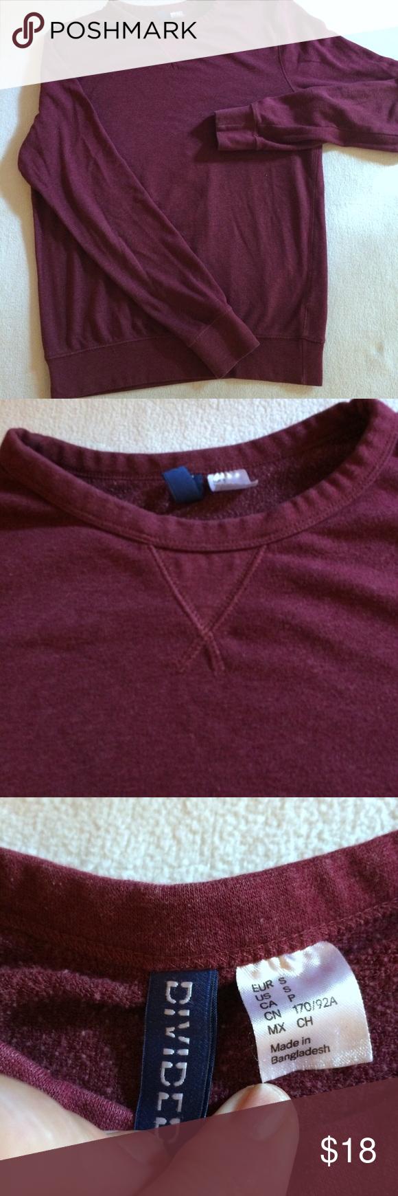 H M Divided Cranberry Sweatshirt S Long Sweatshirt Sweatshirt Shirt Sweatshirts [ 1740 x 580 Pixel ]