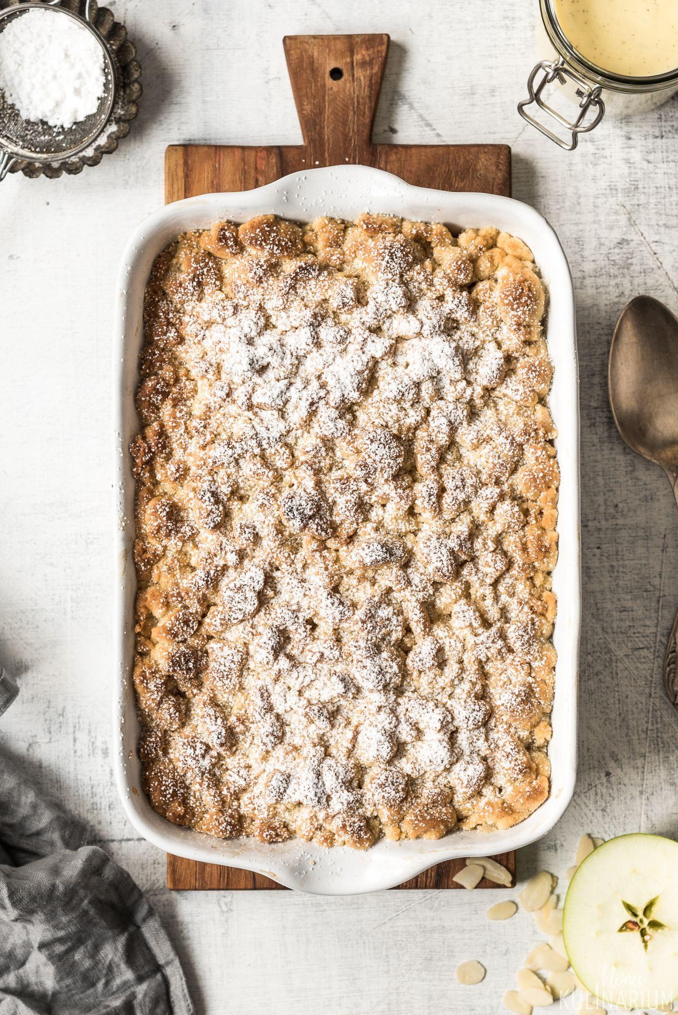 Apple Crumble mit Zimtstreuseln und Vanillesauce - Kleines Kulinarium