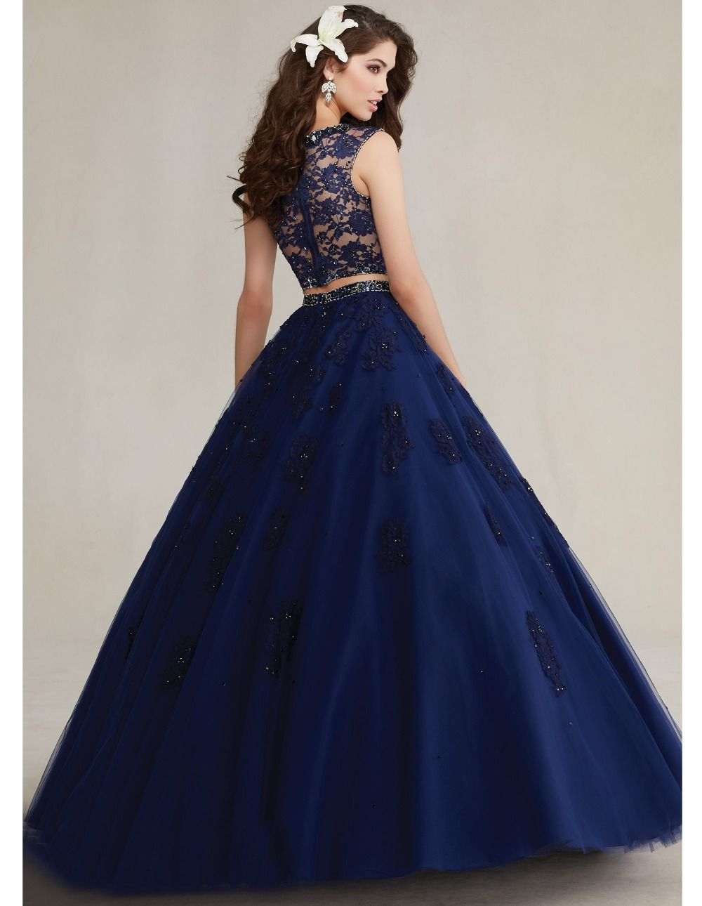 Newest crystal lace royal blue sweet 16 dresses two pieces ...