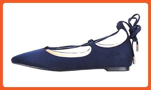 7821196dd2e3fd Verocara Women s Ankle Straps Point Toe Genuine Leather Comfortable Flats  Navy 8 B(M)
