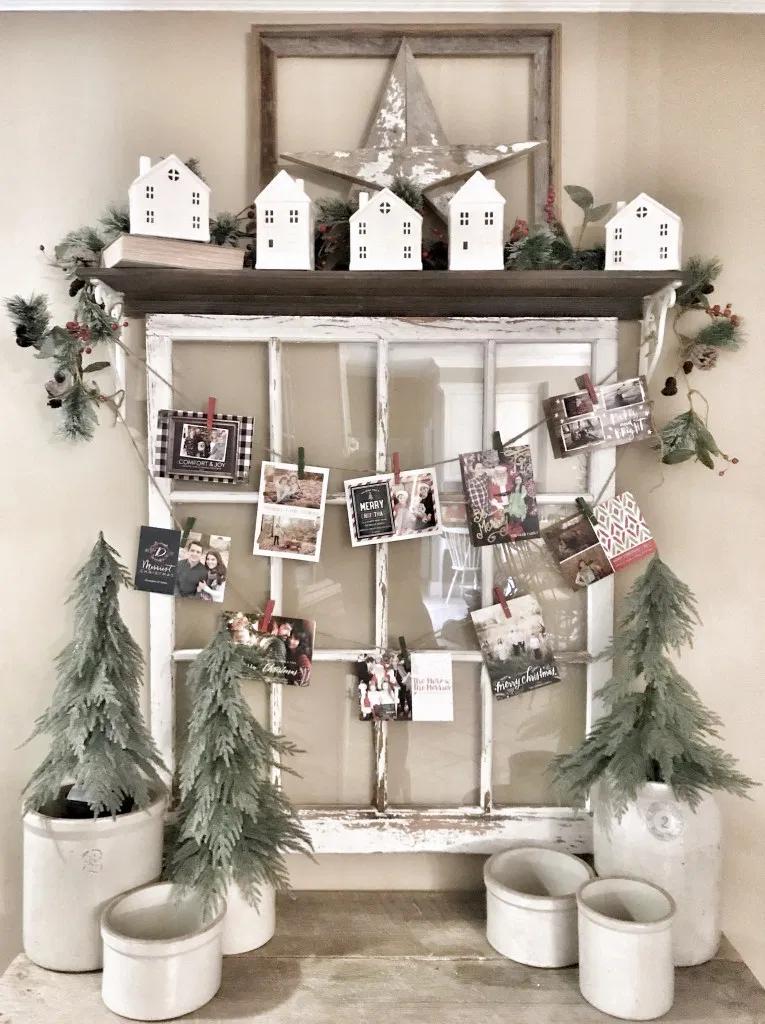Easy Christmas Card Holder for Under $5 | Bless This Nest #farmhousechristmas #christmasdecor #moderndecor #modernchristmas #holidaydecor #farmhousedecor #allthingschristmas #everthingchristmas #homedecor #farmhousestyledecor #farmhousehome #farmhouse #farmhouselife