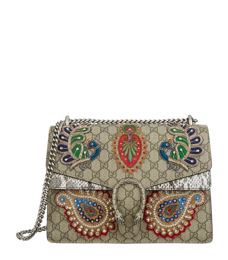 b21ac218791 GUCCI Large Dionysus Peacock Embroidered Shoulder Bag.  gucci  bags   shoulder bags  crystal  canvas  suede  lining