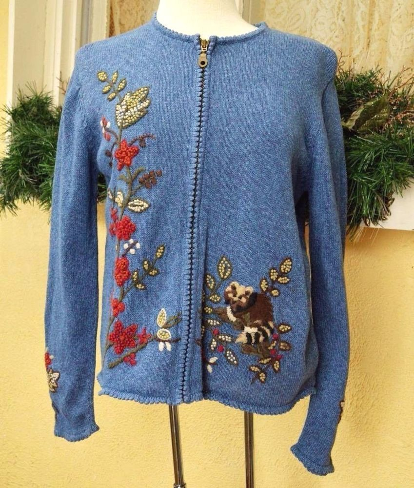 Christopher Banks Raccoon N Forest Zip Front Sweater M Classic Cute Wear w/Jeans #ChristopherBanks #FullZip