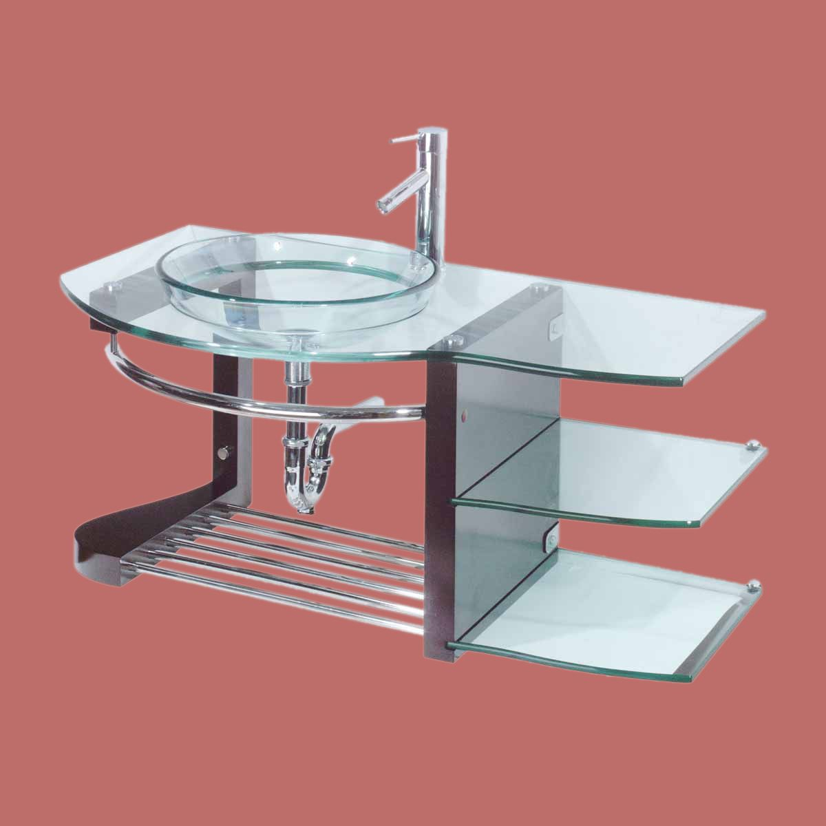 Glass Sinks Glass/Stainless Bauhaus Wall Mount Vessel