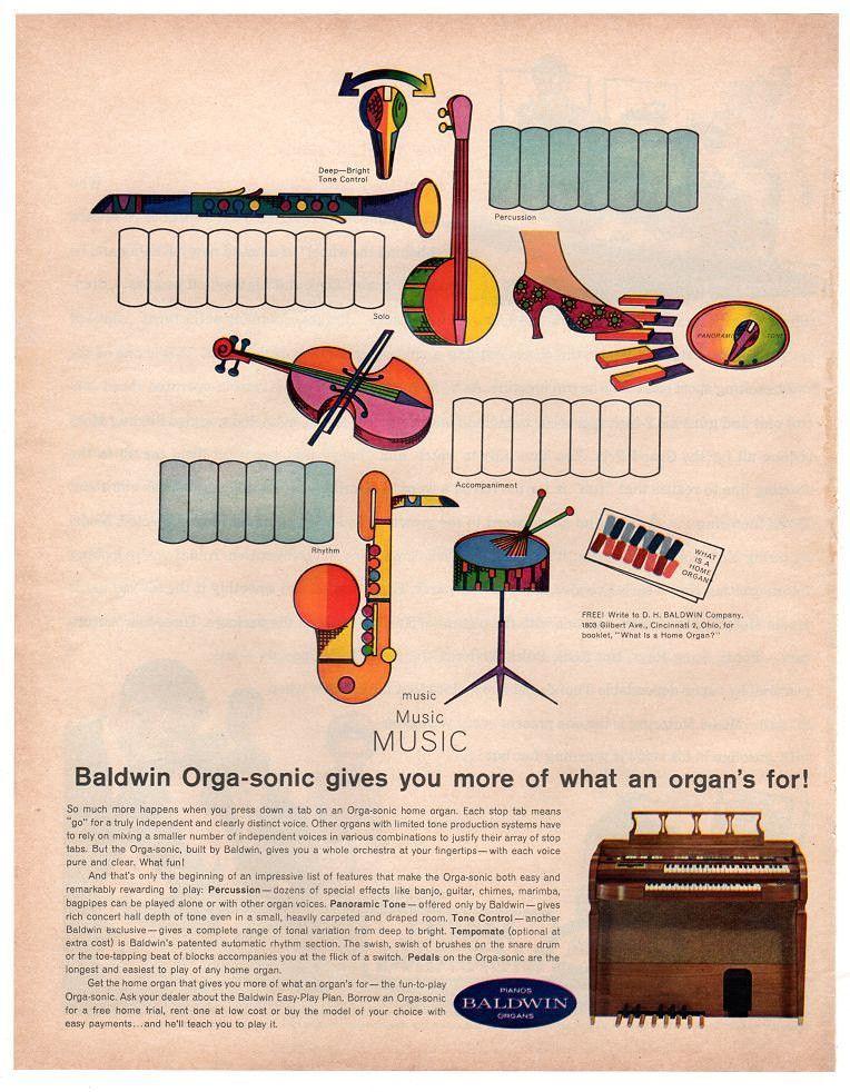 e5aceb3c6 Vintage 1963 Baldwin Organ Magazine Print Ad 1960s Electronics ...