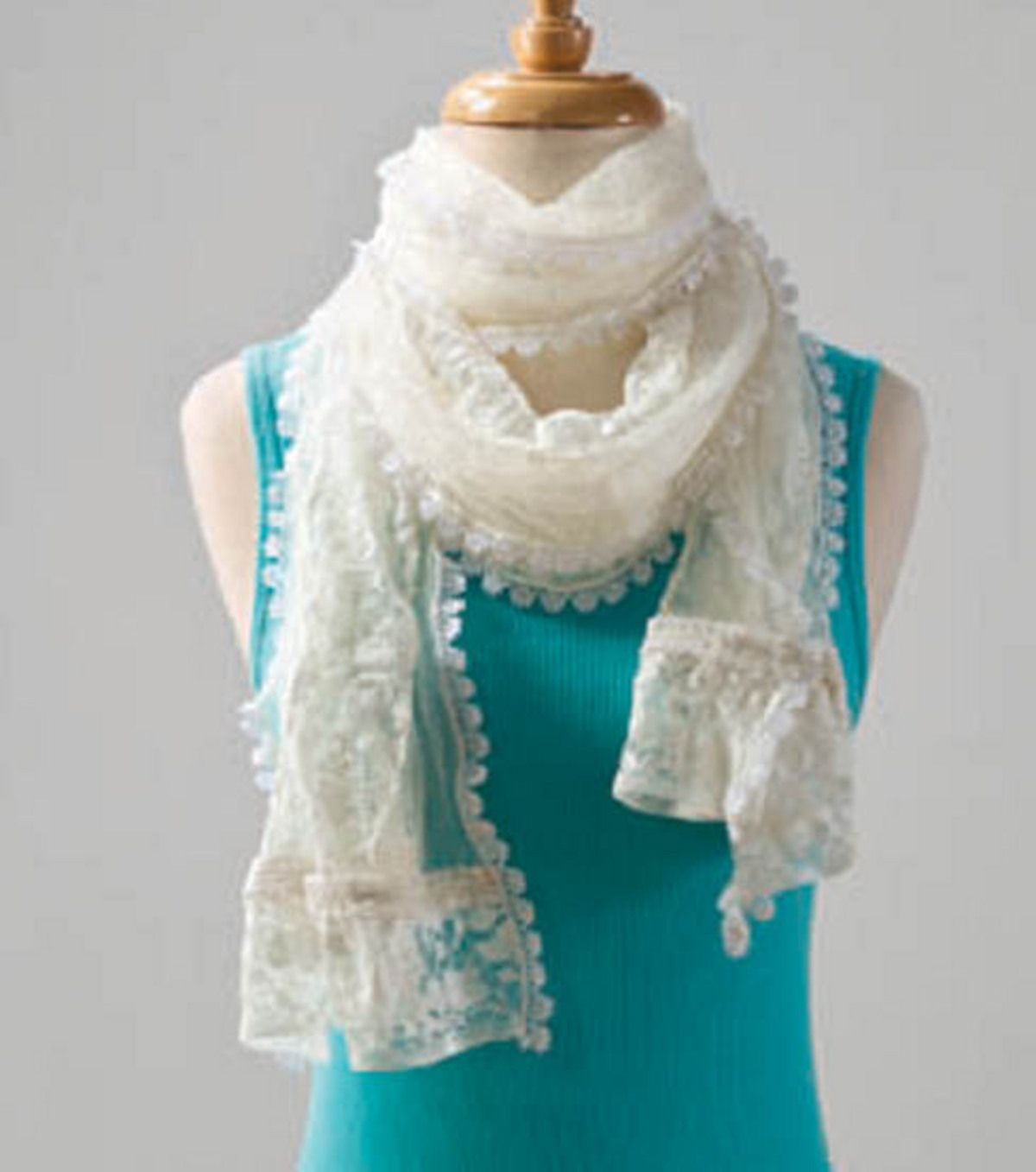 A Pretty White Lace And Tulle Scarf Can Dress Up A Plain